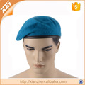 Knitted pattern and plush style blue wool military berets