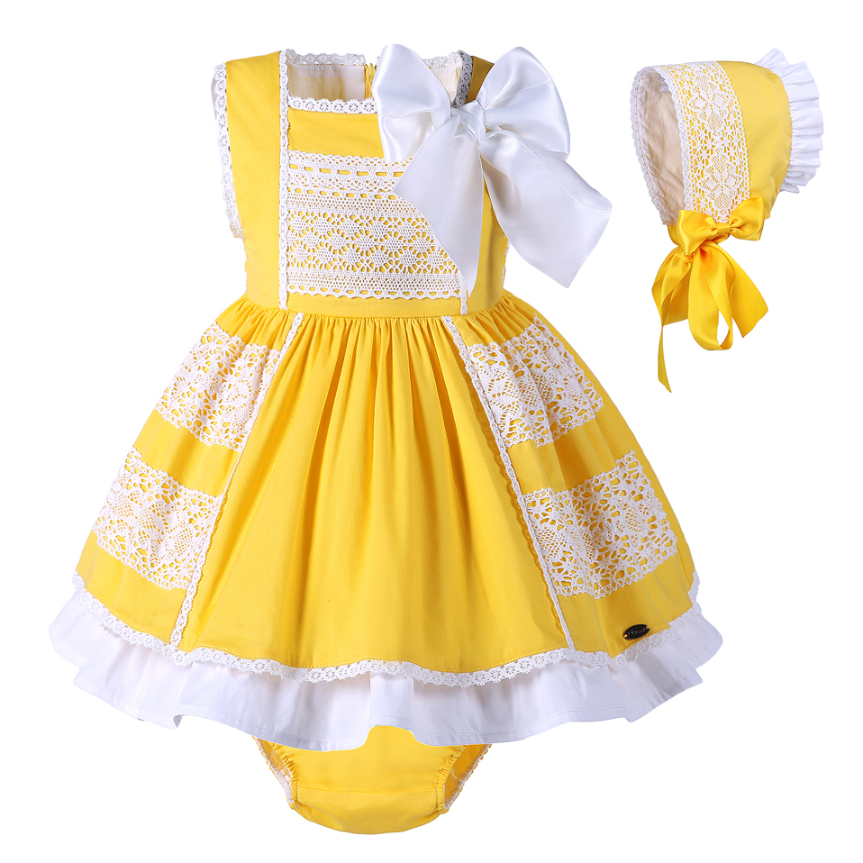Pettigirl latest empire waist easter yellow designer one piece party dress