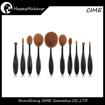 Professional 10 Pcs Toothbrush Shape Oval Foundation Brush