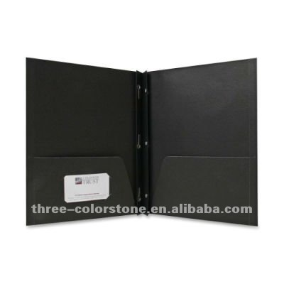 2-Pocket Portfolio with Fasteners, Recycled File Folder, Black, 100/Box