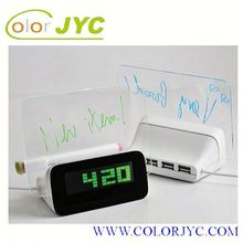 J417 lcd word remind message board alarm clock with phone charger