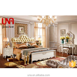 European style furniture antique double bed king size gold leaf wooden carved leather bed with bedside table made in china