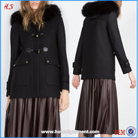 Duffle Coat With Faux Fur Line Hood New Arrival Detachable Faux Fur Trim Name Winter Clothes Fashion Sexy Womens No Clothes