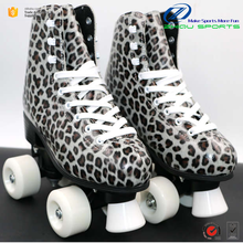 Factory manufacture Leopard pattern design fixed size durable and comfortable quad roller skates shoes for teenagers and adults