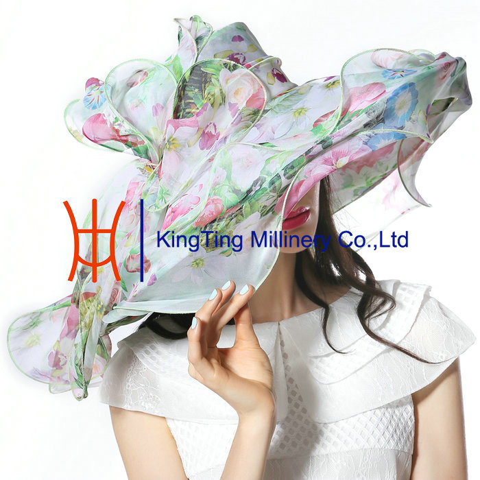 Women Floral Print Women Wedding Hats Summer Fancy Dress Hats For Sale