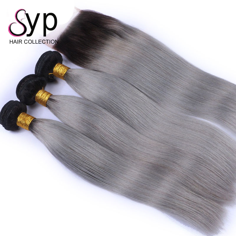 Bohemian 1B/Grey Ombre 2 Tone Colour Straight Weave Coarse Cambodian Color Remy Human Hair Extension In Zambia