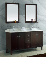Antique style double basin sink 60 inch quartz stone counter solid wood bathroom cabinet