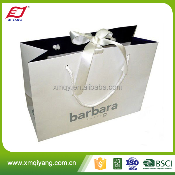 Wholesale eco-friendly recycled white gift paper bag with ribbon tie