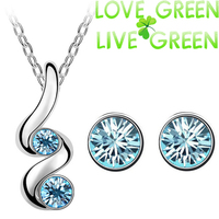 ew arrival free shipping brand bridal 18K GP import classic zircon pendant necklace earrings fashion jewelry sets 5391