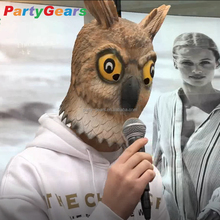 carnival animal fancy dress realistic latex sleeping owl full head mask for party