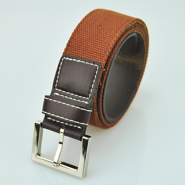 Hot sale air permeable pale brown canvas leather belt for children alloy buckle