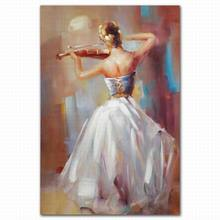 Sex hot beautiful sexy girl nude play violin oil painting for living room