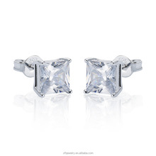 most popular earrings princess cut earring stud fashion jewelry 925 sterling silver