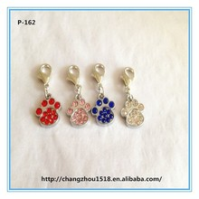 Custom made pet accessories rhinestone paw print charms