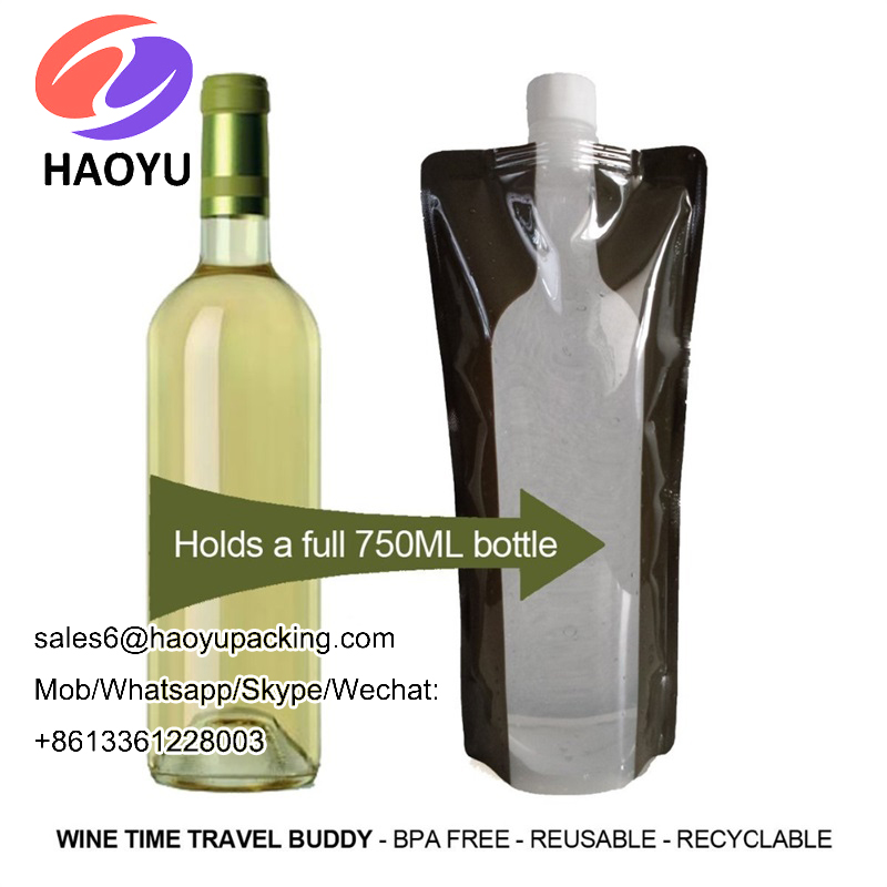 Outdoor Portable Folding Plastic Collapsible With Buckle Water Wine Bottle Holder Bag