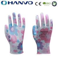 HANVO Ladies Design Floral Printed Nylon Nitrile Coated Garden Gloves