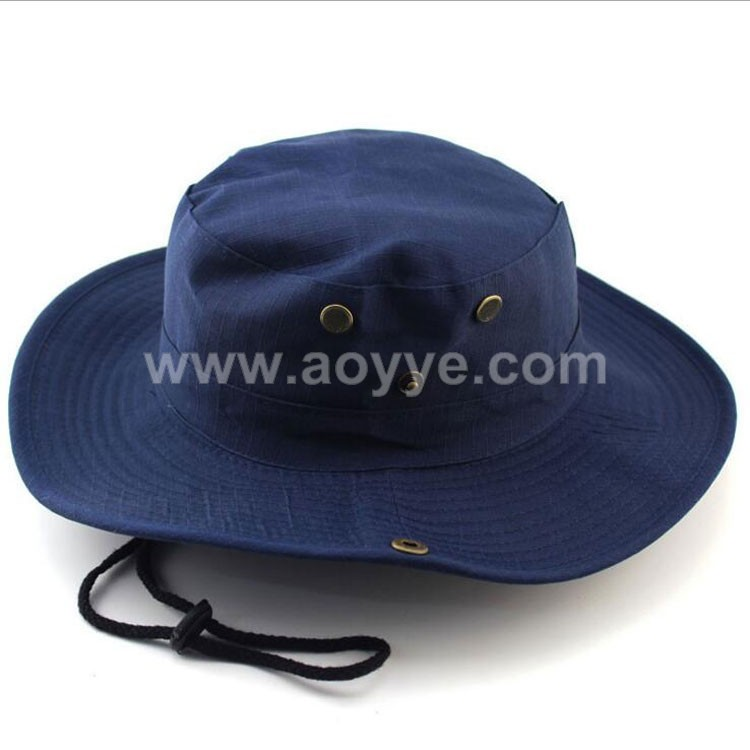 Wholesale polyester cotton outdoor leisure camouflage jungle tourism fisherman plain navy blue bucket hat custom safari hat