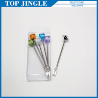 6pcs Elegant Stainless Steel And Acrylic Dessert Cake Fork Set