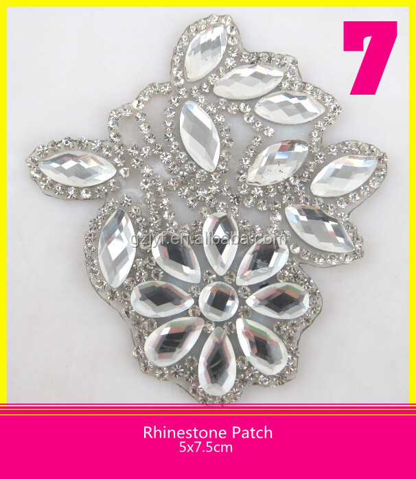 Wholesale Rhinestone Transfer Hotfix Patch 5*5cm Diamond Applique Flower Design for Wedding Dresses