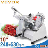 "10"" MEAT SLICER 240W DELI CUTTER 530 RPM ELECTRIC LOWER NOISE LESS VIBRATION SEMI AUTO"