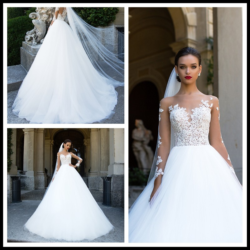 2017 Long Sleeve Appliques Ball Gown Bride Dresses White Wedding