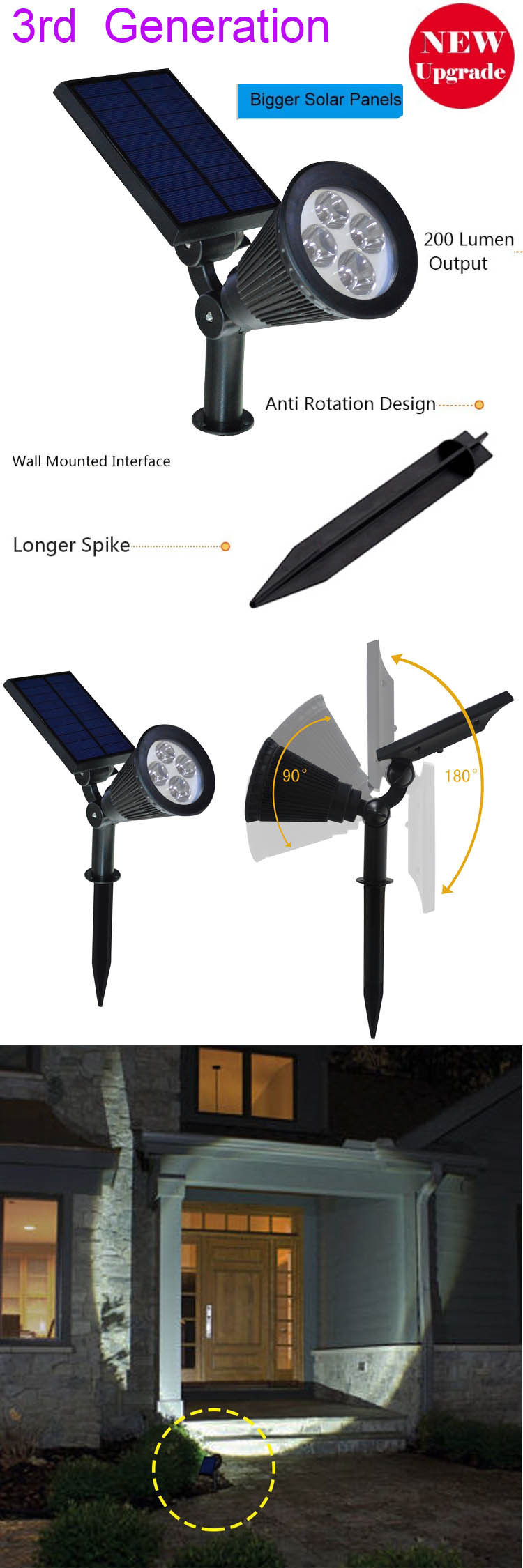[Upgrated 200 Lumen Output]2-in-1 New Solar power spot garden lights / Solar Power Outdoor Wall Light - Waterproof spotlight