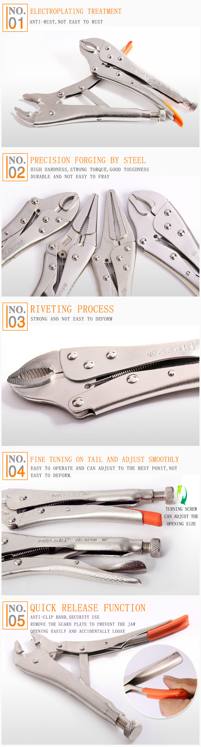 AK-8280 High quality Curved Jaw Vise Grip Pliers