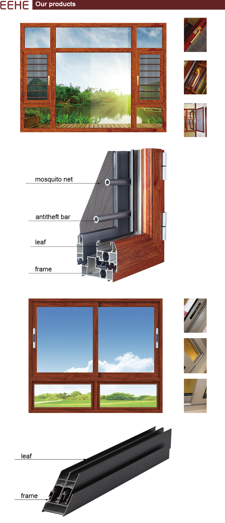 Top Double Tempered Clear Glass Aluminum Tilt and Turn Windows with Shutter