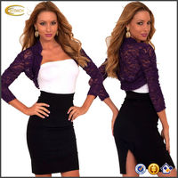 OEM wholesale Sheer lace Floral Ruched 3/4 Sleeve Cropped Open Bolero designer shrug Jacket Wrap