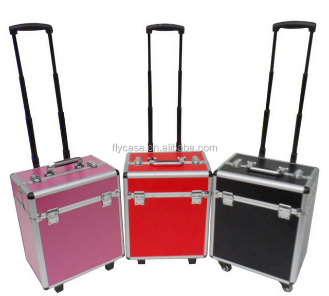 aluminum black cosmetic make up trolley case with hard ABS