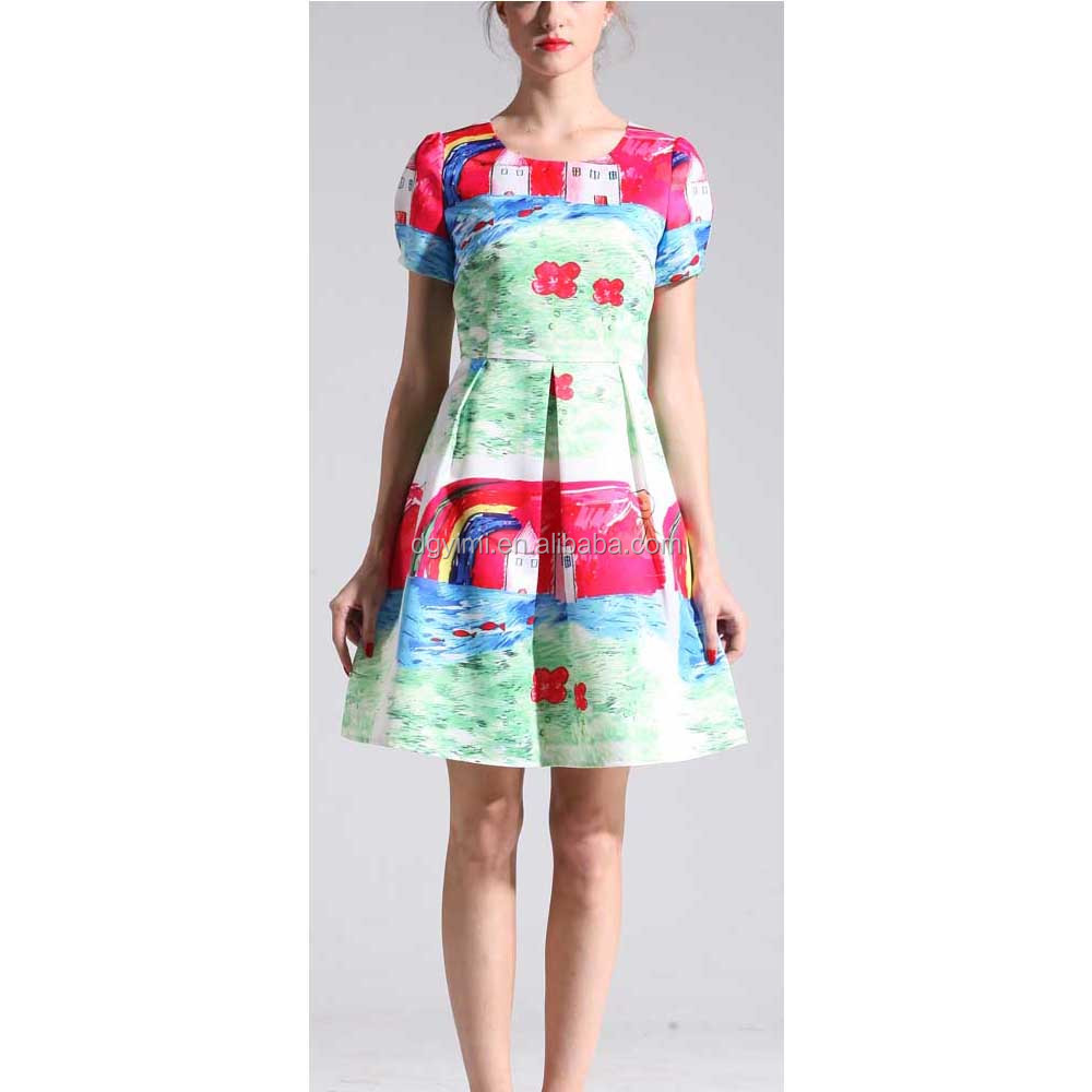 Summer printing women cusual dresses