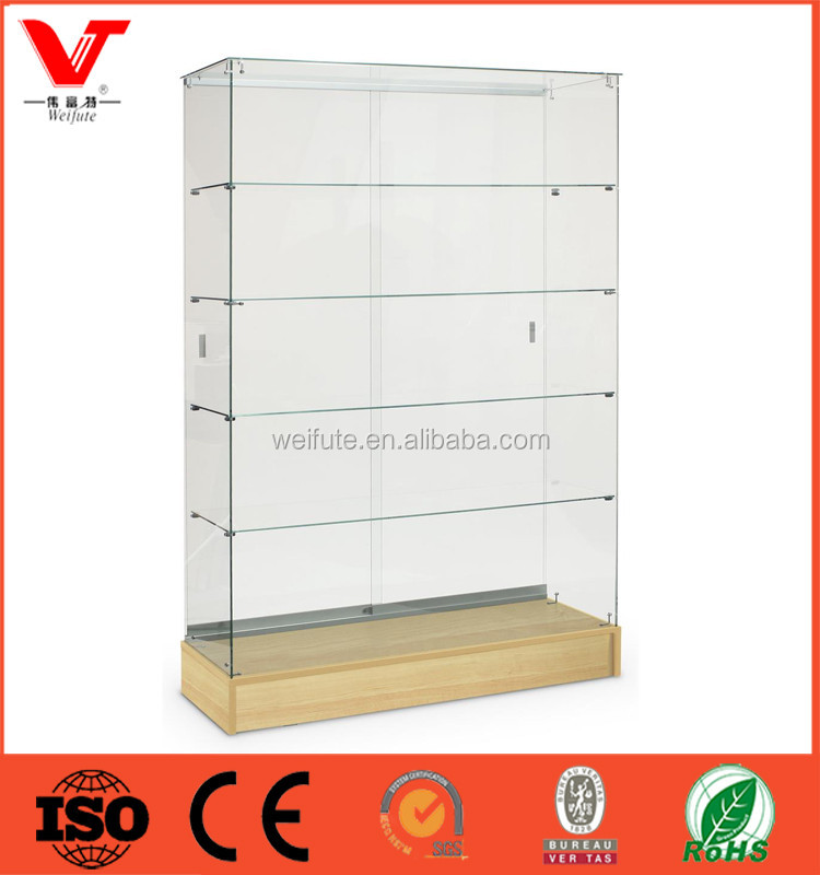 Modern retail store floor standing wall wood design glass showcase/glass display showcase