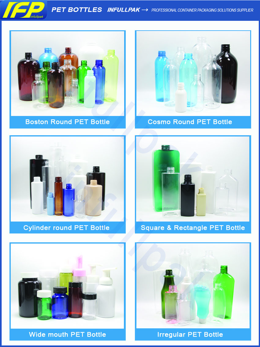 30ml - 1000ml Plastic PET Bottle, hand wash Bottle, Shampoo bottle