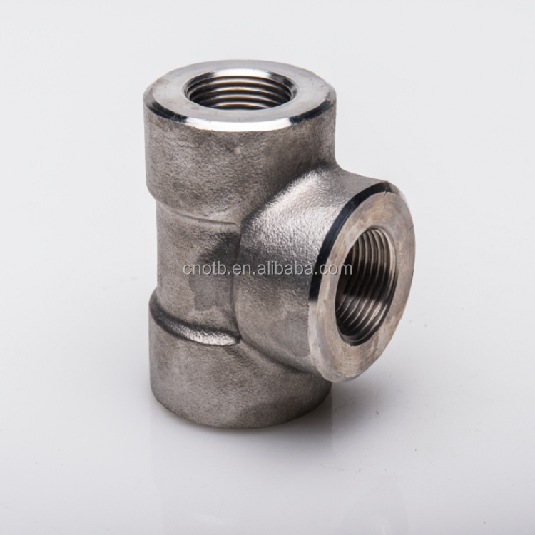 Forged high pressure pipe ss304 NPT threaded tee fitting