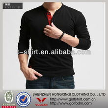 Popular Black Color Turtle Neck T Shirts For Men Long Sleeve