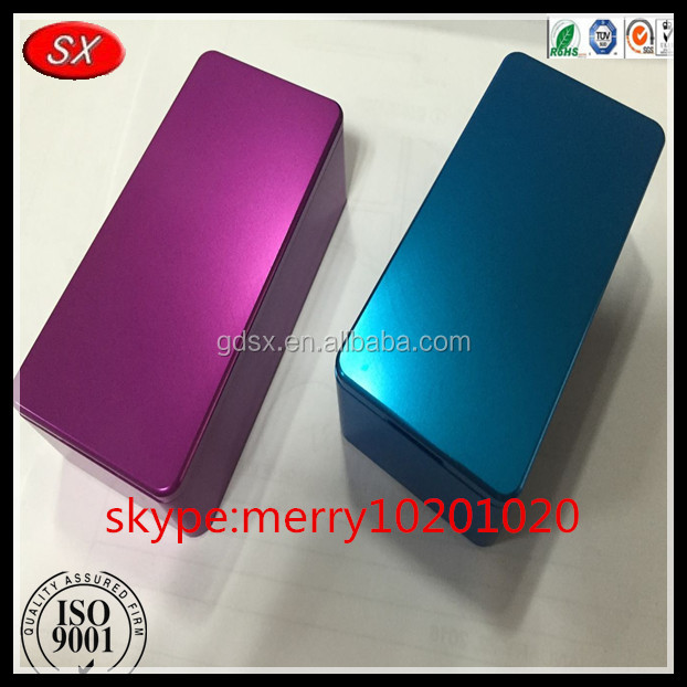 Customized aluminum anodized square box mod enclosure