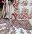 Fashion style 3d lace fabric beads bridal wedding/show/evening dress lace fabric,French embroidered lace dress fabric