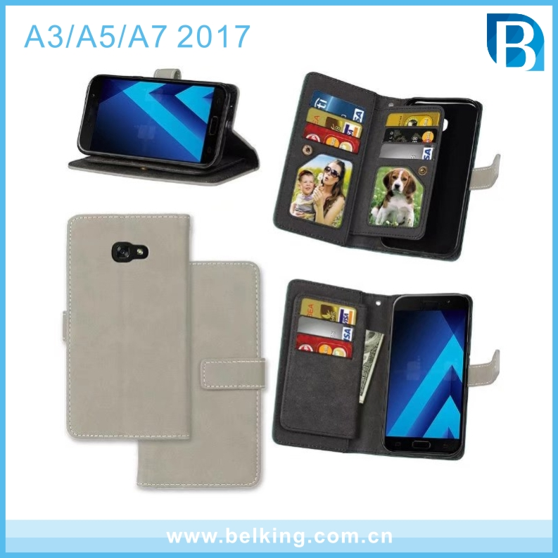 For Samsung A3 A5 A7 2017 Wallet Card Slot Leather Holder Mobile Phone Case