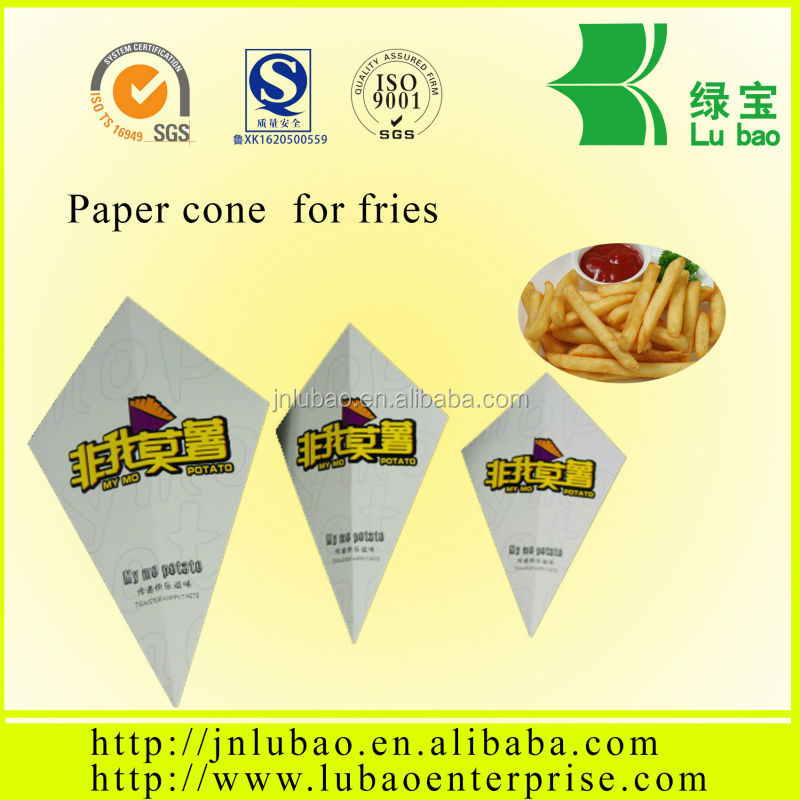 foldable printing your logo paper cone for potato chips popular in England USA