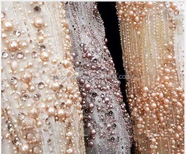 2016 High fashion beaded sequins Fancy embroidery tulle french lace fabric