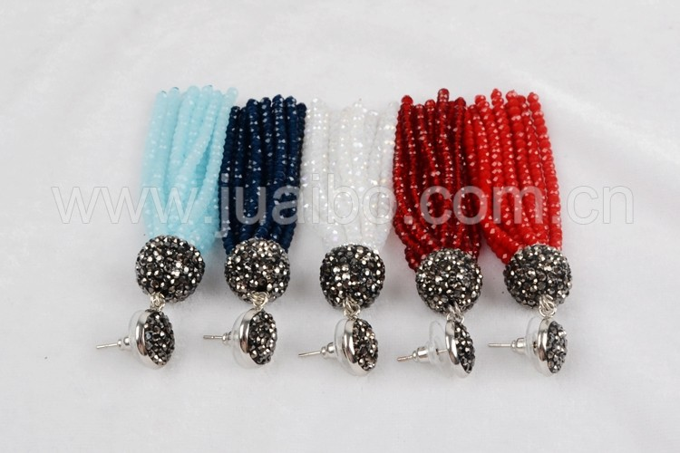 New fashion rhinestone beads studs with long colorful bead tassel JAB520
