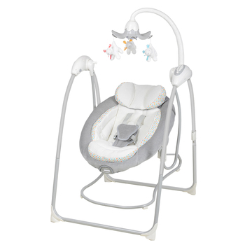 Baby Swing Cradle Seat Bouncer Chair Portable Entertainment Hang Soft Toy Sturdy Frame Soft Fabric Kids Bed Infant Music Swings
