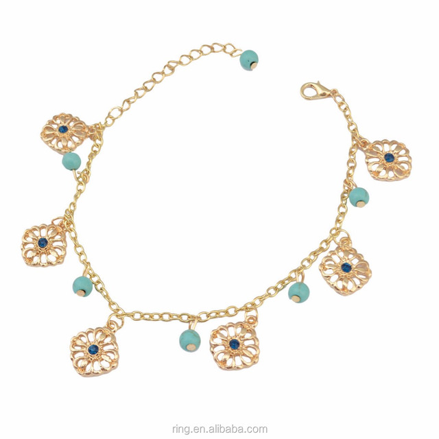 Bohemian Fashion Gold Plated Turquoise Beads String Anklet Jewelry Beauty Girls