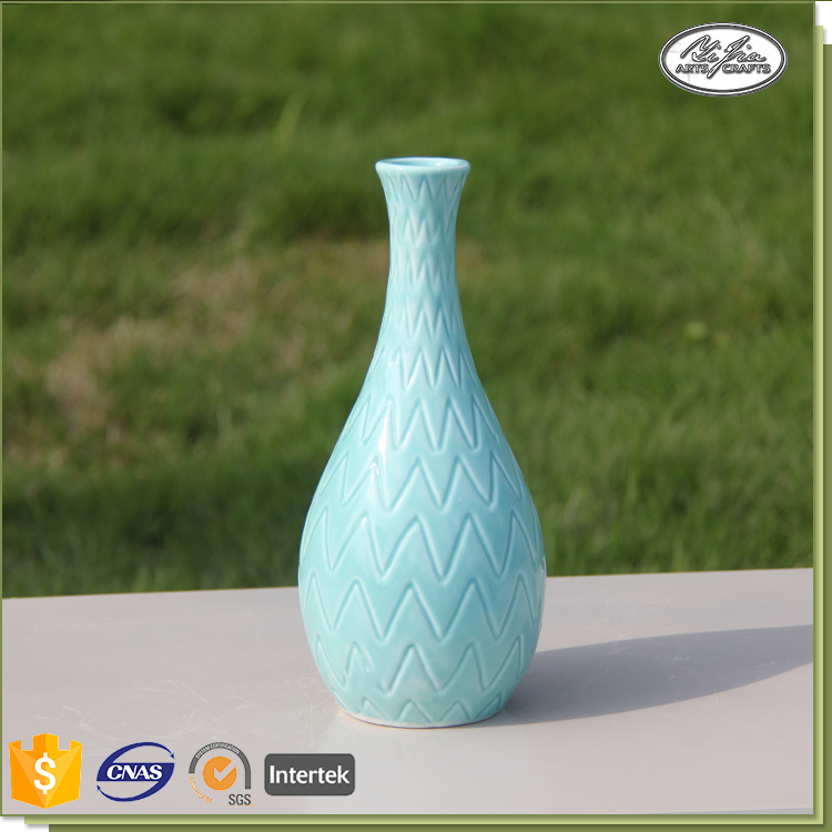 Wholesale new style 9*9*20CM blue white ceramic flower vase