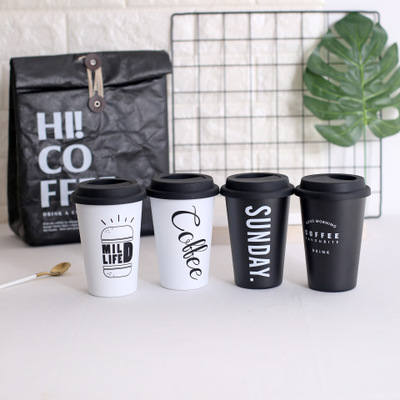 <strong>Black</strong>/White BPA Free Single Wall Vacuum Stainless Steel Tumbler Travel Cup / Mug