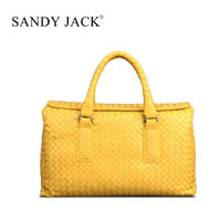Italy famous Brand Leather women travel bags Sandy Jack pure handmade weave sheep leather party bags with gift bags Retail