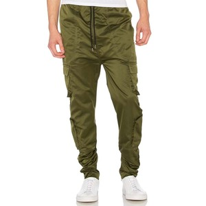 YL OEM custom fashion olive green mens cargo pants men with side pockets for wholesale