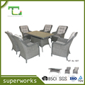 Customized Factory Patio Rattan Dining Table Set