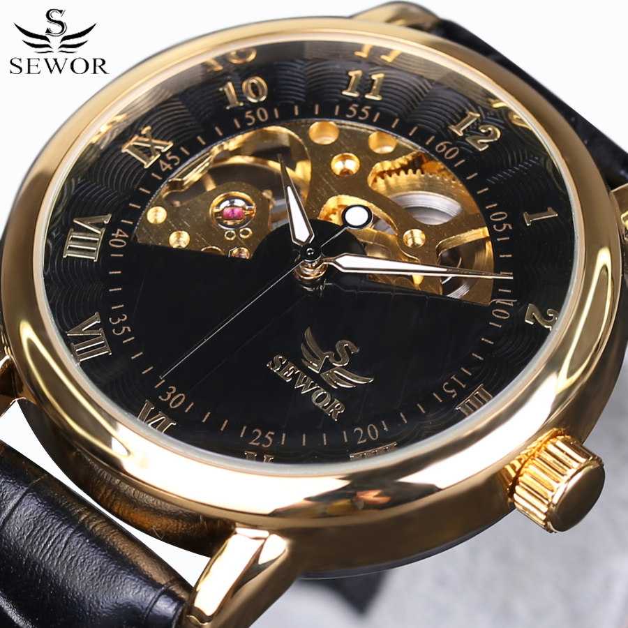 2016 Top Luxury Brand SEWOR Gold Skeleton Wrist Watches Automatic Mechanical Watch leather Strap Men watches vintage male clock