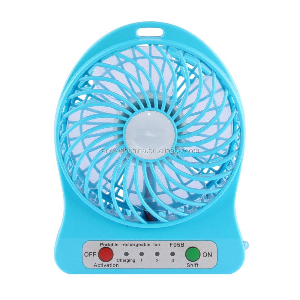 blue color 4-inch Personal Battery Operated Fan Rechargeable with LED Light
